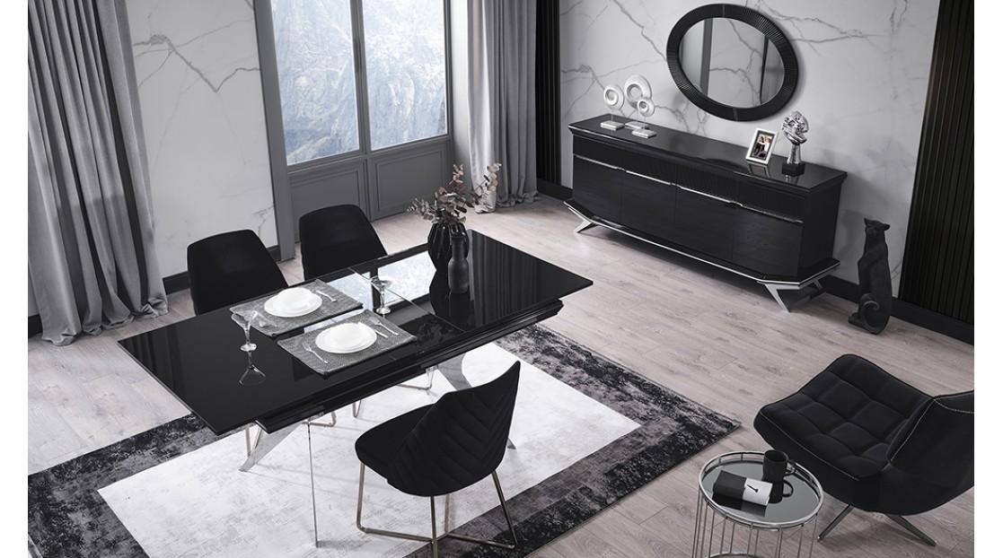 Villa Siyah Krom Yemek Odası