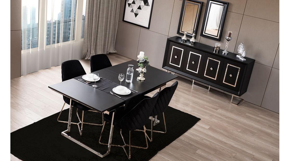 Voga Siyah Krom Yemek Odası
